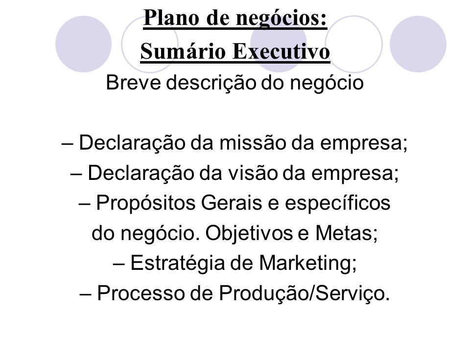 Plano de negócios: Sumário Executivo