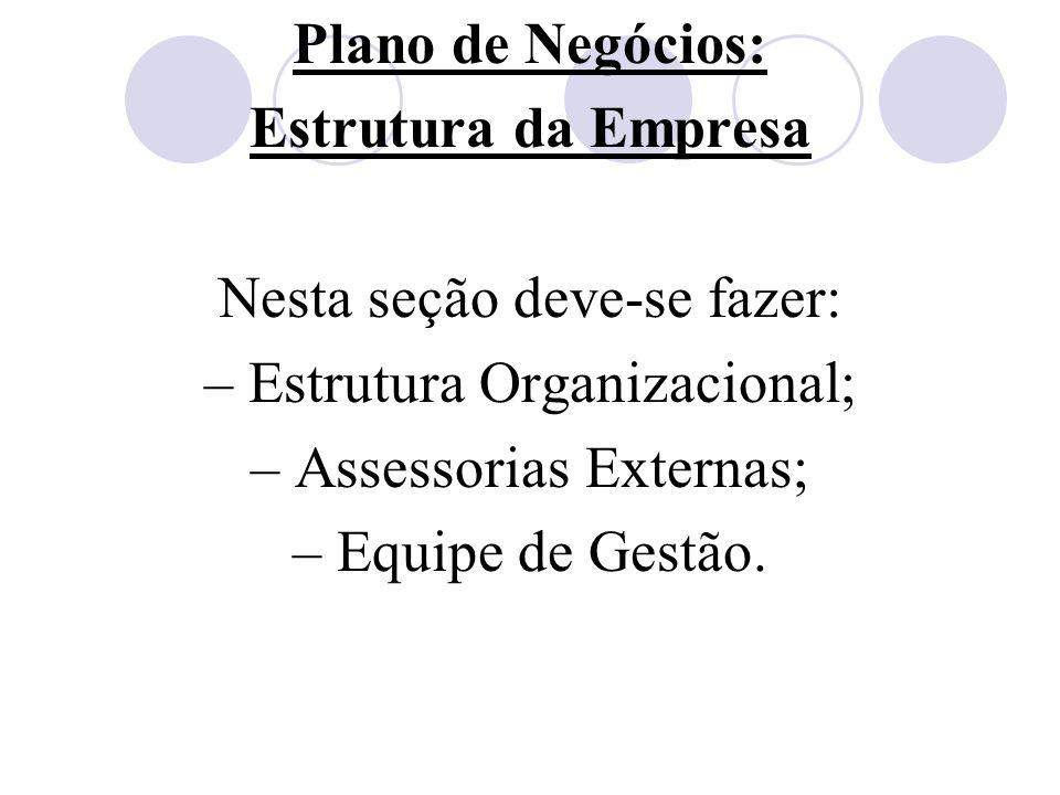 Plano de Negócios: Estrutura da Empresa