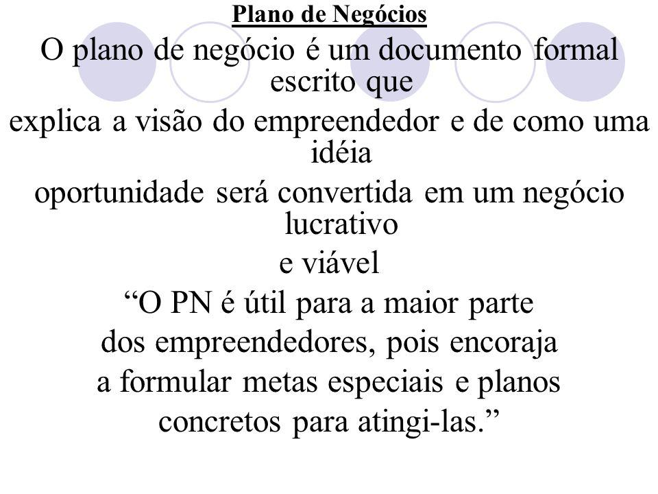 O plano de negócio é um documento formal escrito que