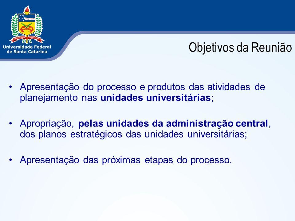 Objetivos da Reunião Apresentação do processo e produtos das atividades de planejamento nas unidades universitárias;
