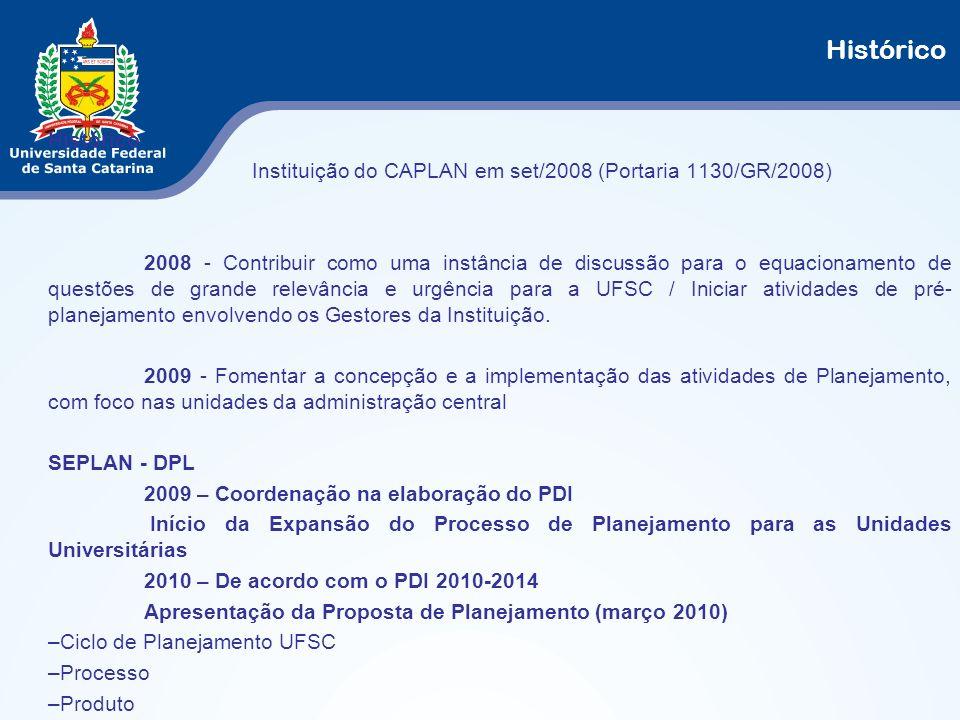 Histórico Histórico. Instituição do CAPLAN em set/2008 (Portaria 1130/GR/2008)