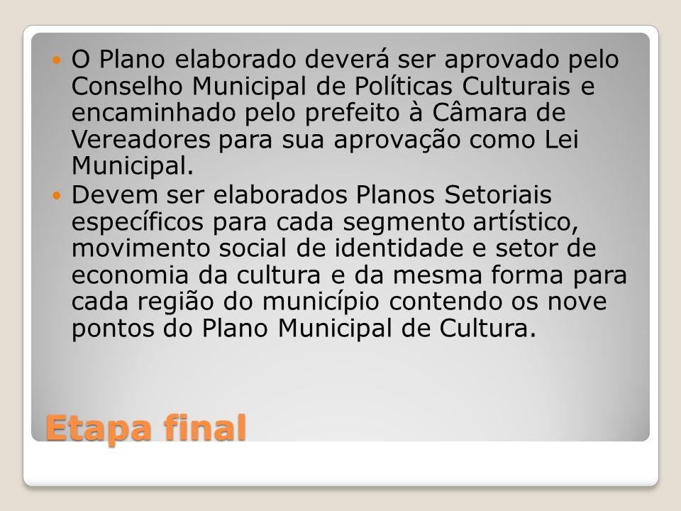 O Plano elaborado deverá ser aprovado pelo Conselho Municipal de Políticas Culturais e encaminhado pelo prefeito à Câmara de Vereadores para sua aprovação como Lei Municipal.