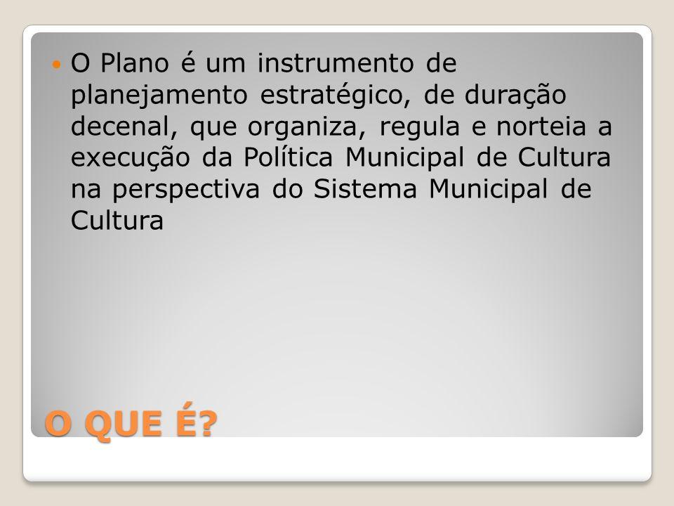 O Plano é um instrumento de planejamento estratégico, de duração decenal, que organiza, regula e norteia a execução da Política Municipal de Cultura na perspectiva do Sistema Municipal de Cultura