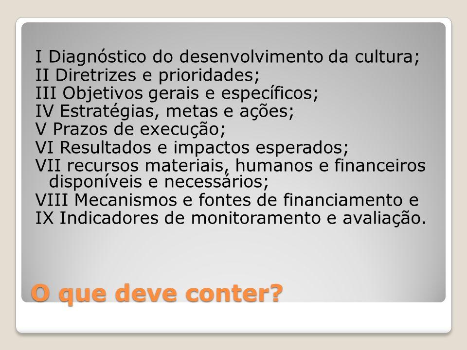 O que deve conter I Diagnóstico do desenvolvimento da cultura;