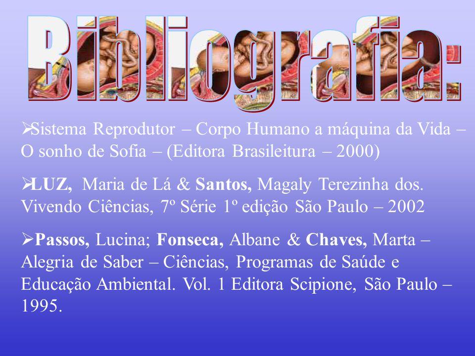Bibliografia: Sistema Reprodutor – Corpo Humano a máquina da Vida – O sonho de Sofia – (Editora Brasileitura – 2000)