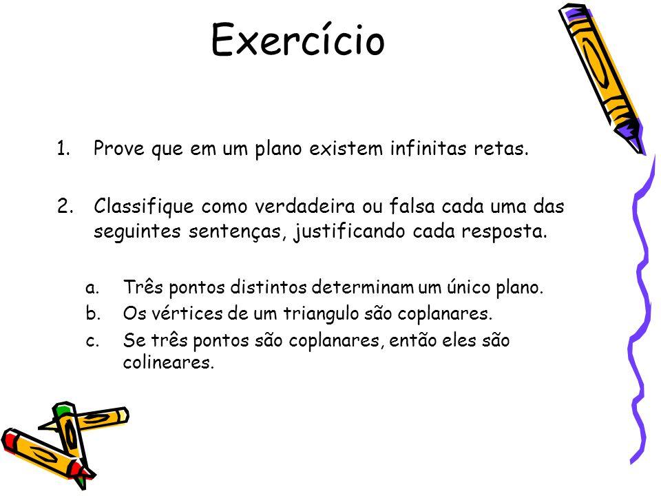 Exercício Prove que em um plano existem infinitas retas.