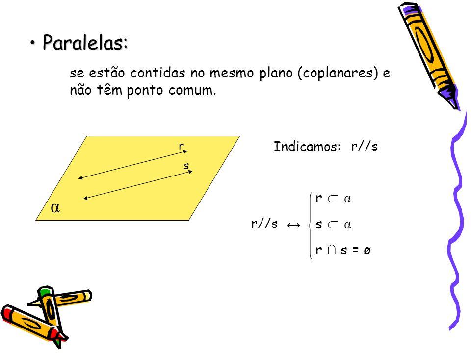 Paralelas: se estão contidas no mesmo plano (coplanares) e não têm ponto comum. r. Indicamos: r//s.