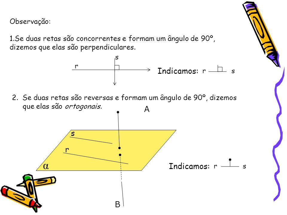 α Indicamos: A s r Indicamos: B Observação: