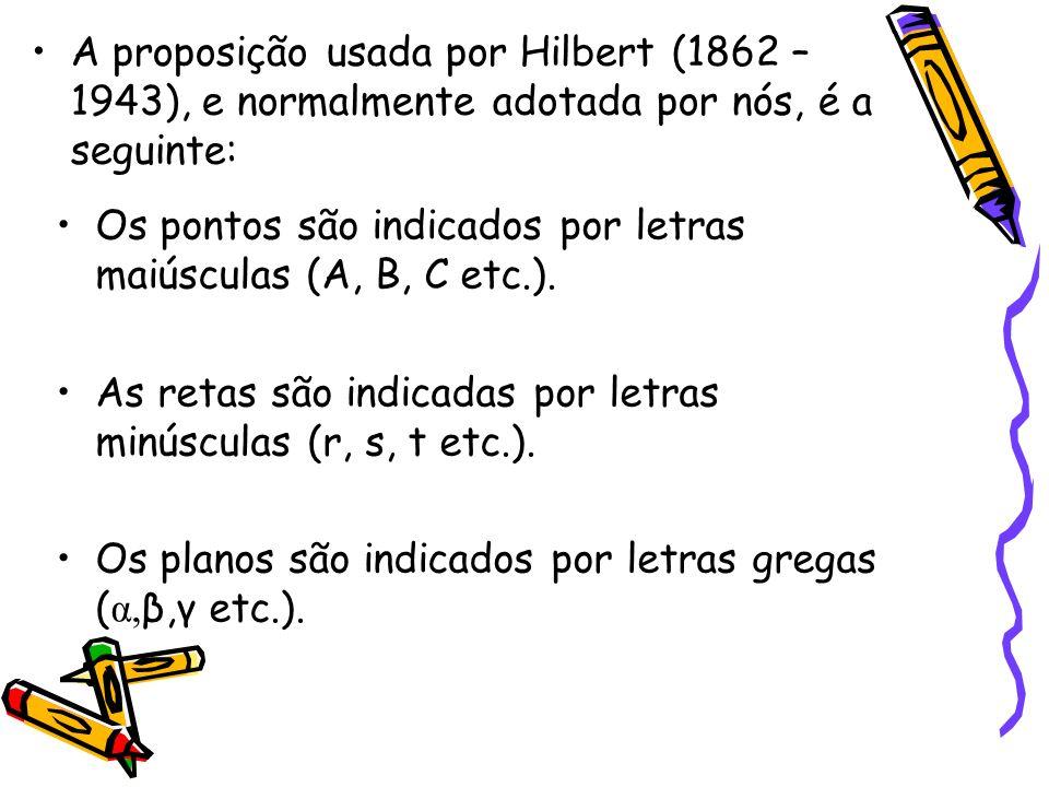 A proposição usada por Hilbert (1862 – 1943), e normalmente adotada por nós, é a seguinte: