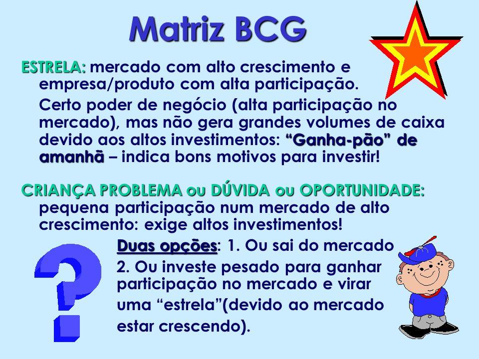 Matriz BCG ESTRELA: mercado com alto crescimento e empresa/produto com alta participação.
