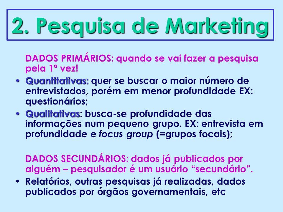 2. Pesquisa de Marketing DADOS PRIMÁRIOS: quando se vai fazer a pesquisa pela 1ª vez!