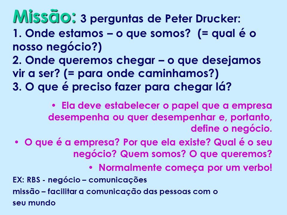 Missão: 3 perguntas de Peter Drucker: 1. Onde estamos – o que somos