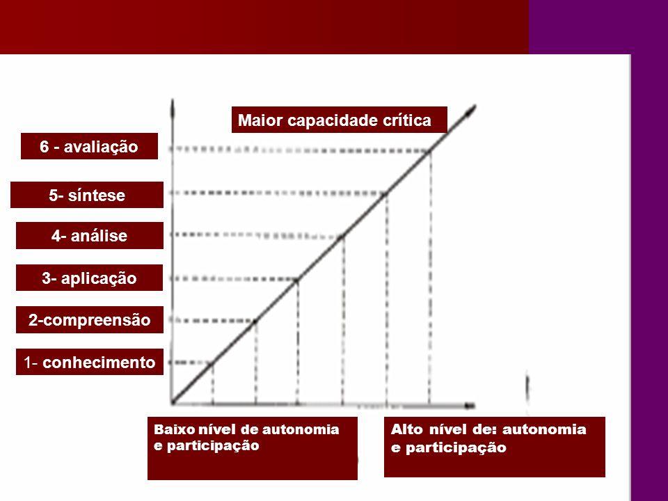 2-compreensão 3- aplicação 4- análise 5- síntese 6 - avaliação