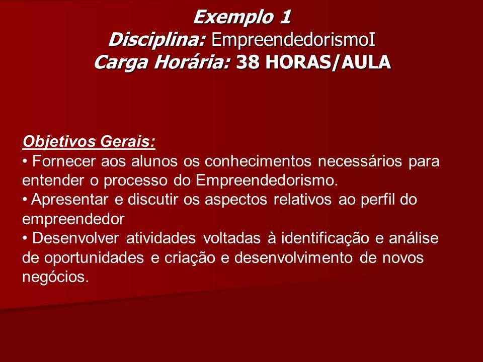 Exemplo 1 Disciplina: EmpreendedorismoI Carga Horária: 38 HORAS/AULA