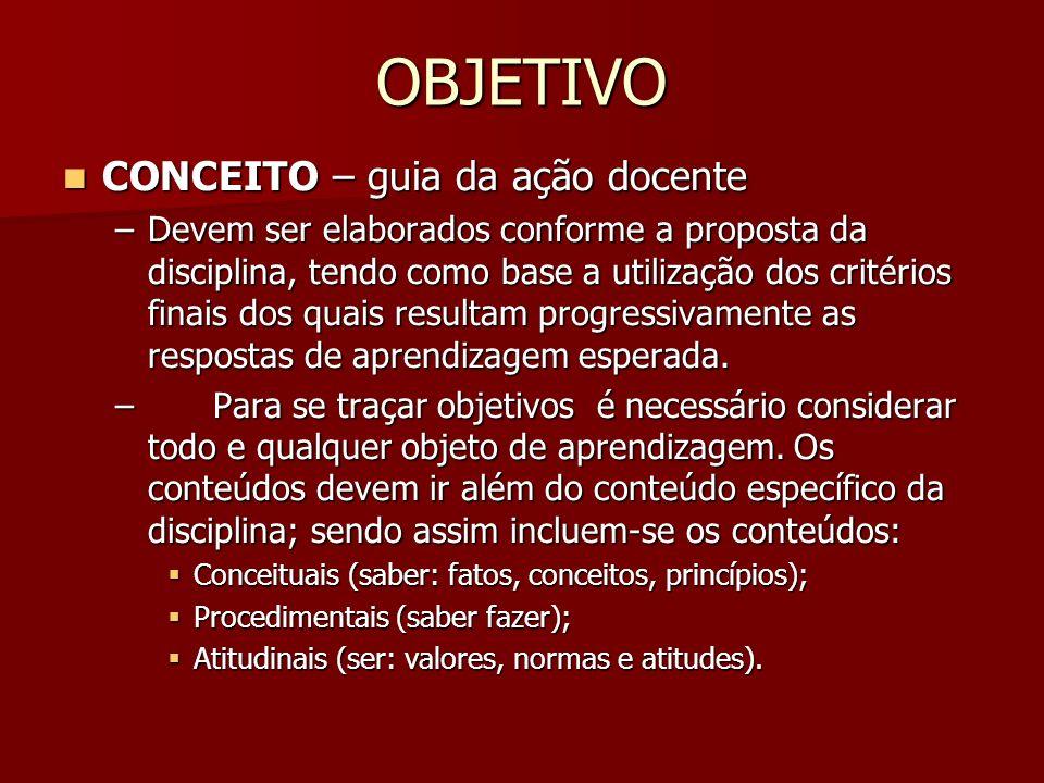 OBJETIVO CONCEITO – guia da ação docente