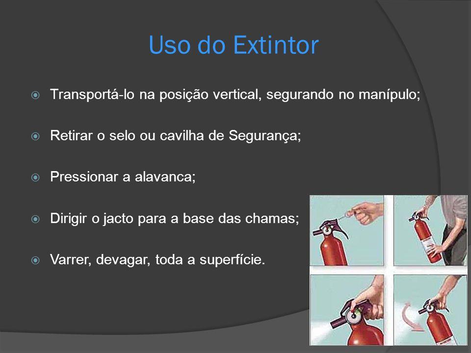 Uso do Extintor Transportá-lo na posição vertical, segurando no manípulo; Retirar o selo ou cavilha de Segurança;