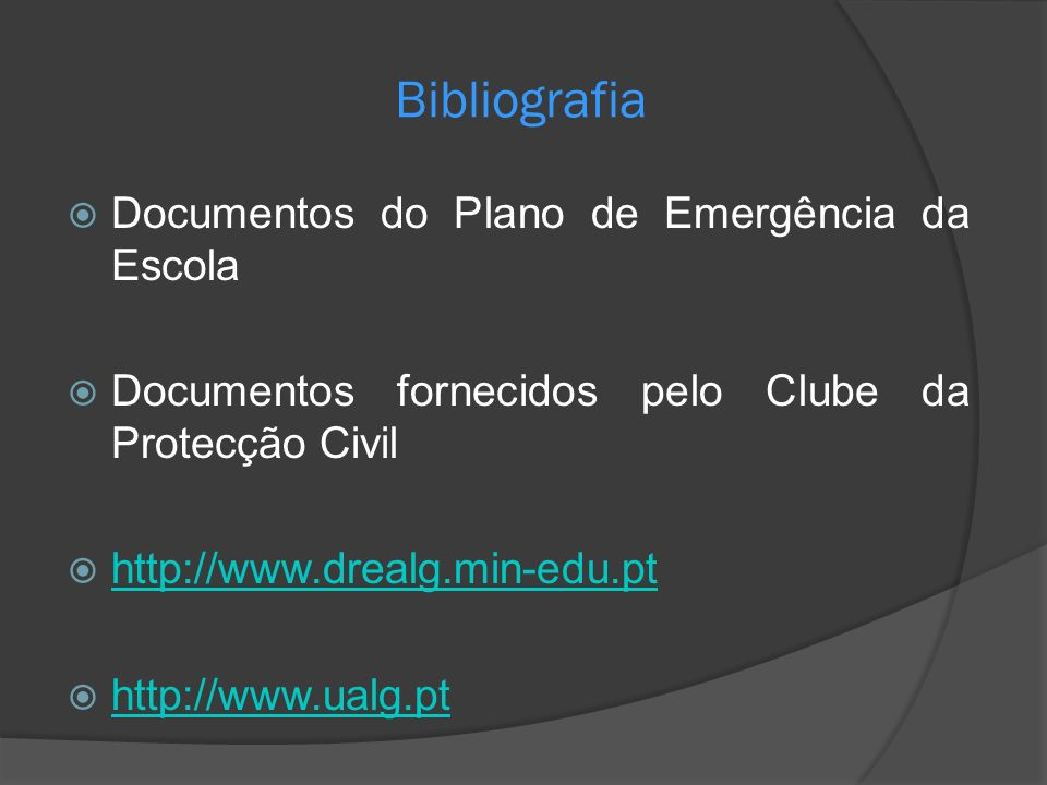 Bibliografia Documentos do Plano de Emergência da Escola