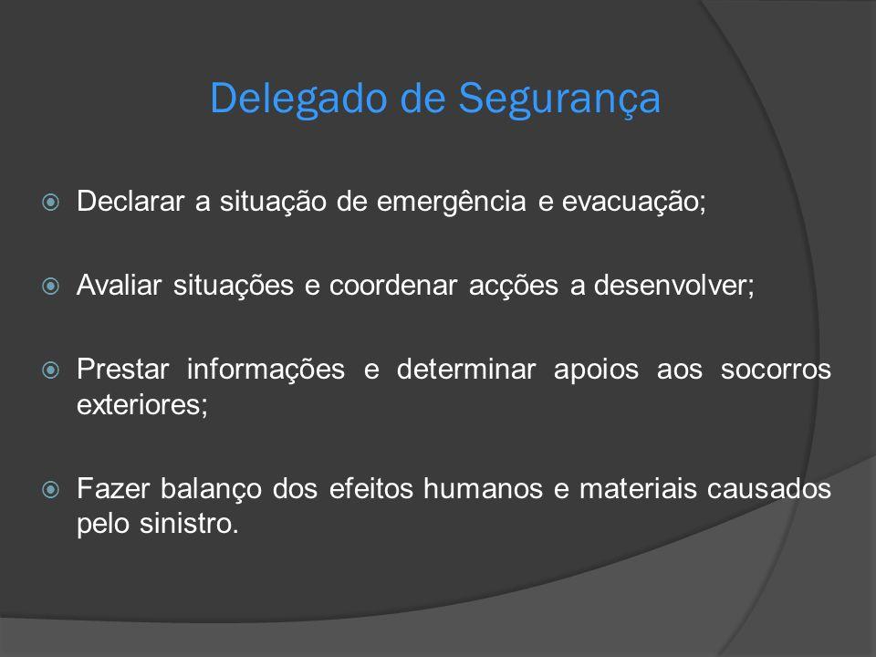 Delegado de Segurança Declarar a situação de emergência e evacuação;
