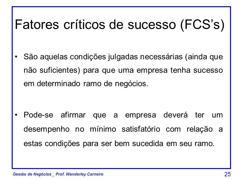 Fatores críticos de sucesso (FCS's)