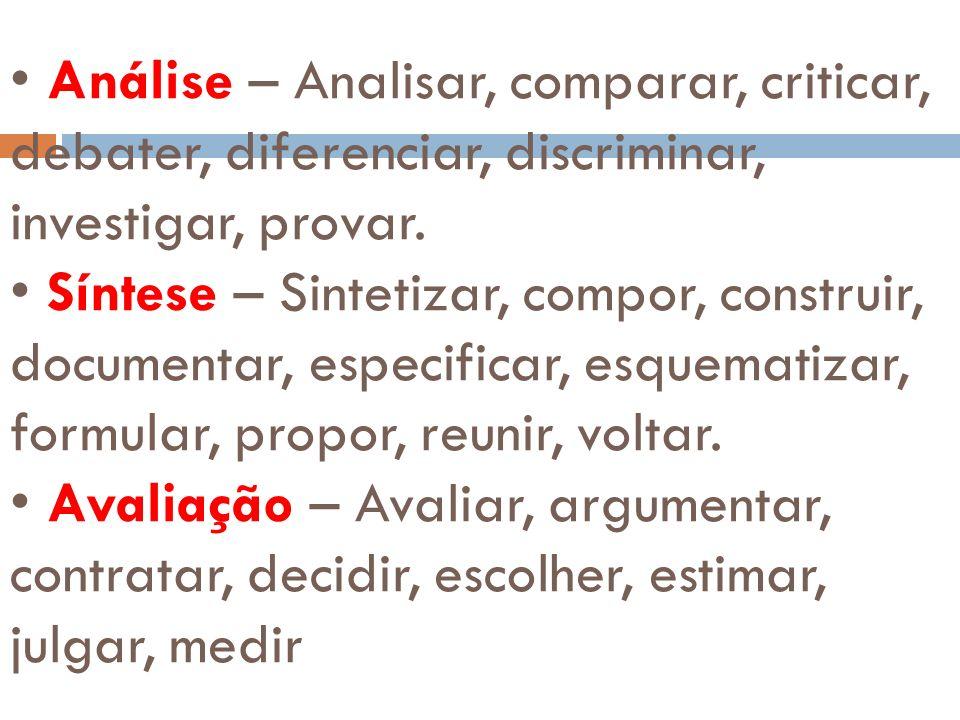 • Análise – Analisar, comparar, criticar, debater, diferenciar, discriminar, investigar, provar.