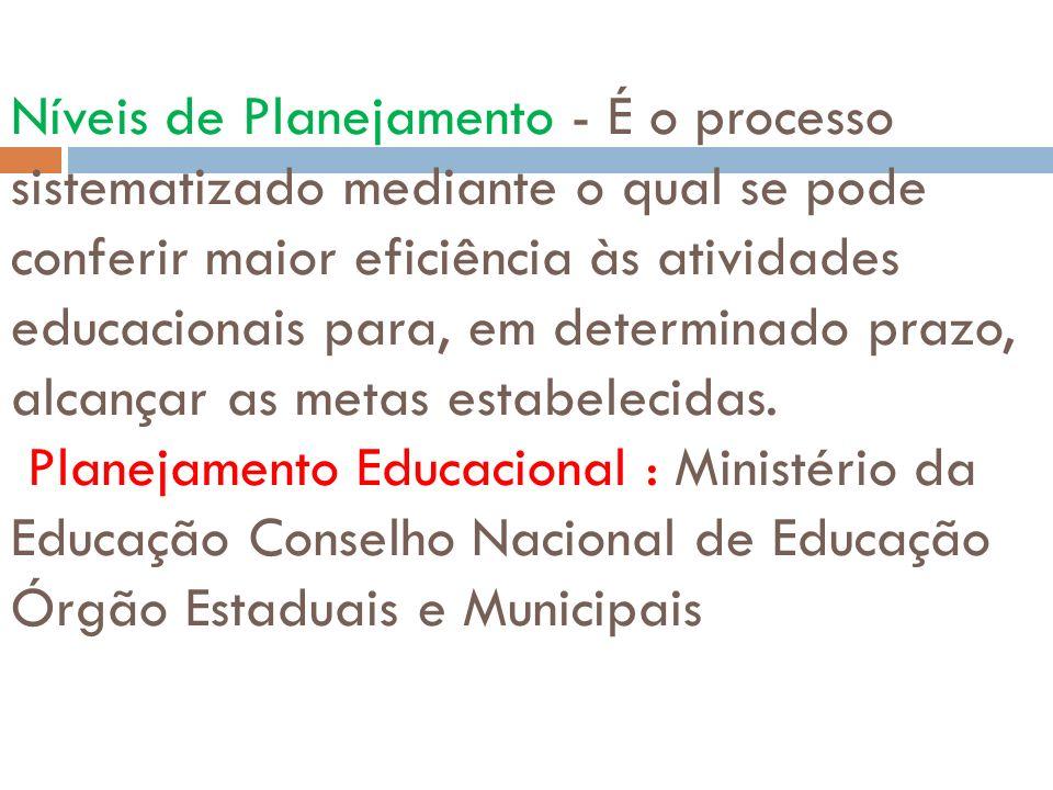 Níveis de Planejamento - É o processo sistematizado mediante o qual se pode conferir maior eficiência às atividades educacionais para, em determinado prazo, alcançar as metas estabelecidas.