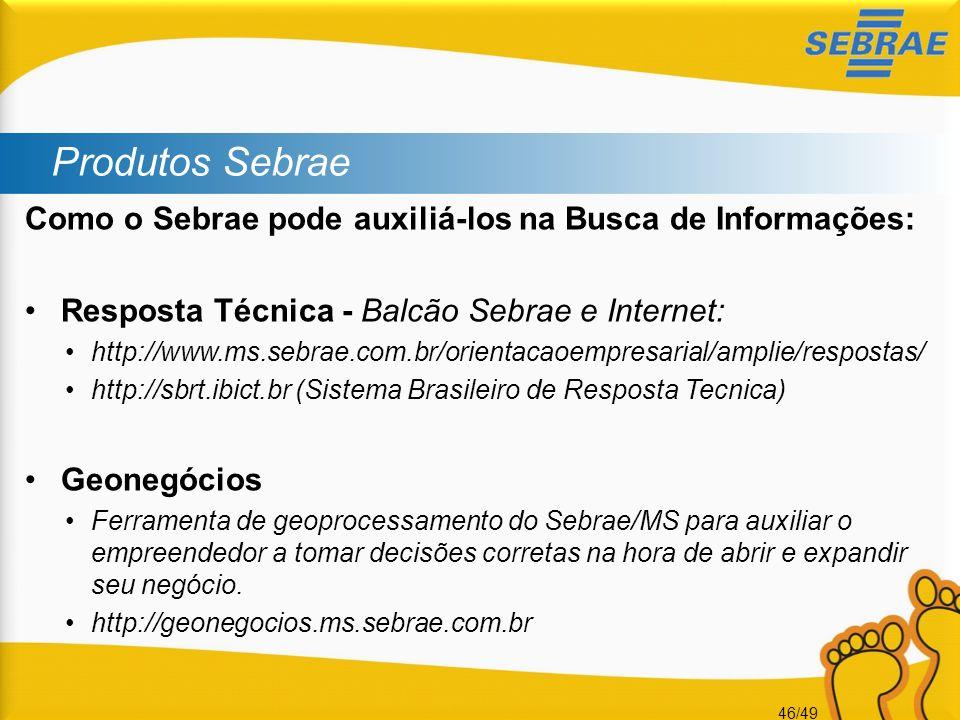 Produtos Sebrae Como o Sebrae pode auxiliá-los na Busca de Informações: Resposta Técnica - Balcão Sebrae e Internet: