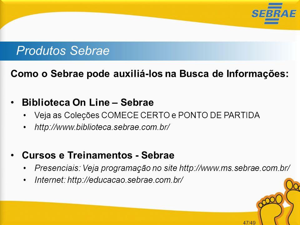 Produtos Sebrae Como o Sebrae pode auxiliá-los na Busca de Informações: Biblioteca On Line – Sebrae.