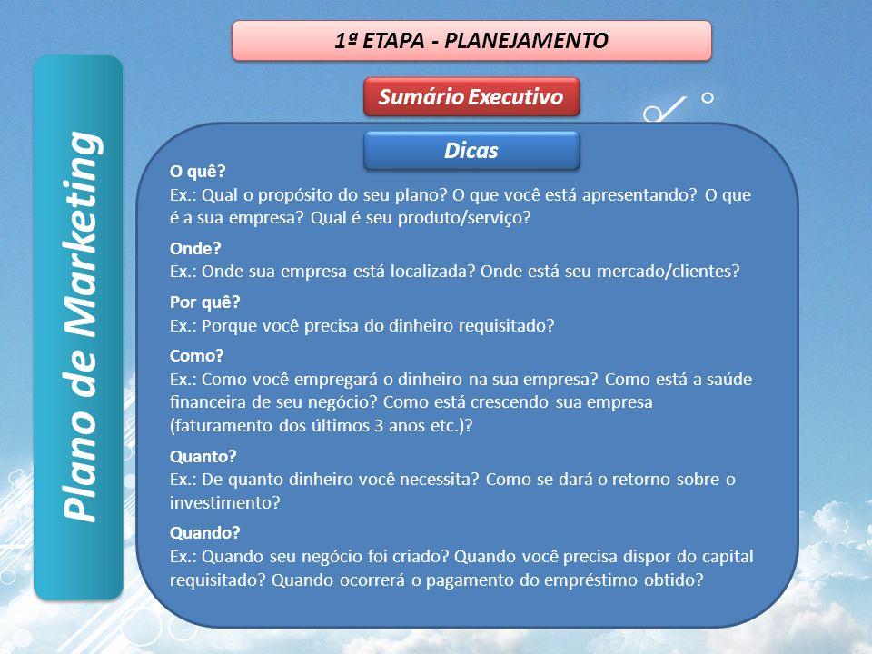 Plano de Marketing 1ª ETAPA - PLANEJAMENTO Sumário Executivo Dicas