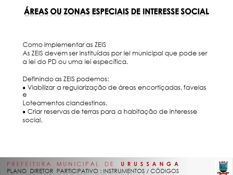 Áreas OU Zonas Especiais de Interesse Social