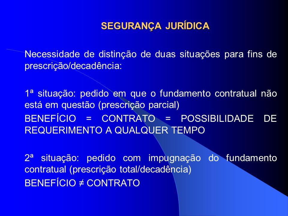 SEGURANÇA JURÍDICA Necessidade de distinção de duas situações para fins de prescrição/decadência: