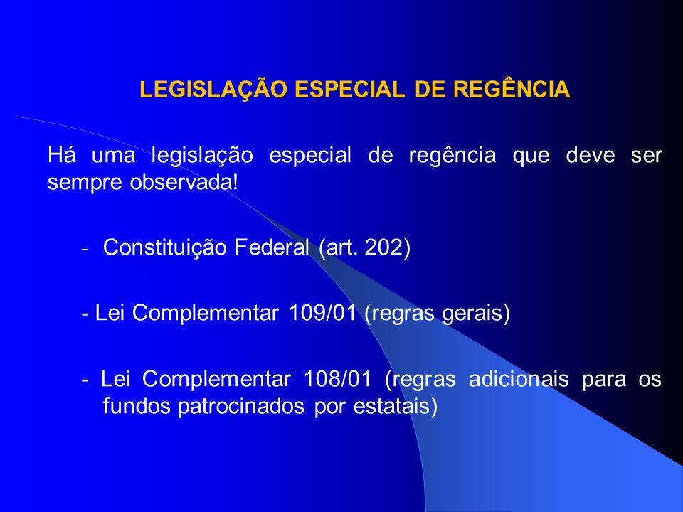 LEGISLAÇÃO ESPECIAL DE REGÊNCIA