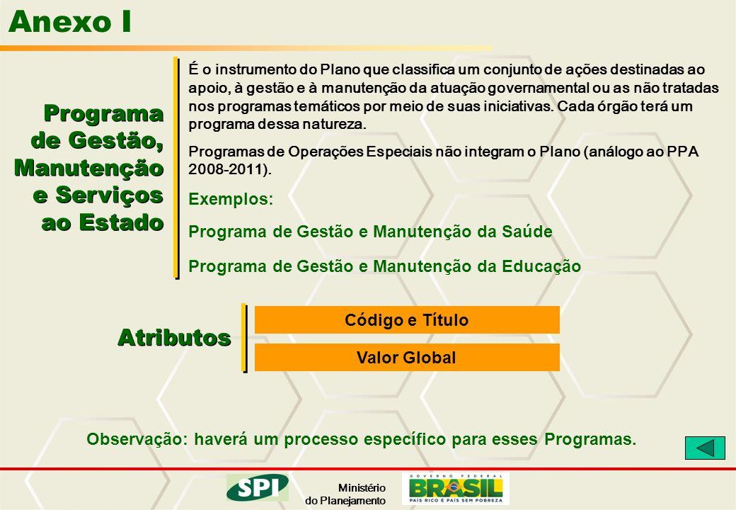 Anexo I Programa de Gestão, Manutenção e Serviços ao Estado Atributos