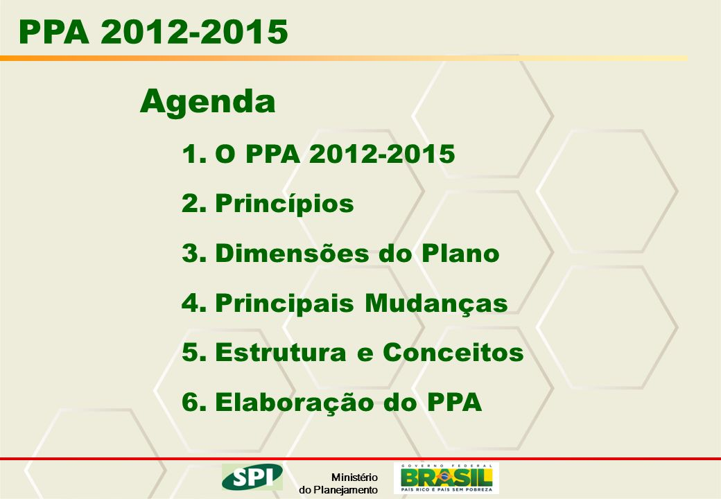 PPA 2012-2015 Agenda O PPA 2012-2015 Princípios Dimensões do Plano