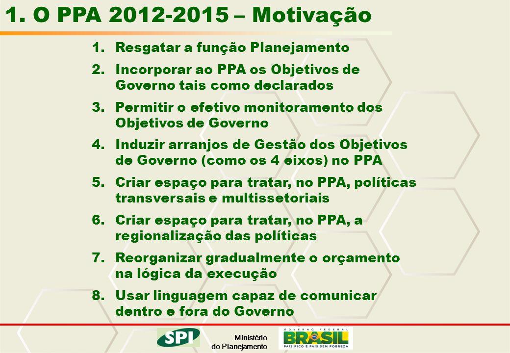 1. O PPA 2012-2015 – Motivação Resgatar a função Planejamento