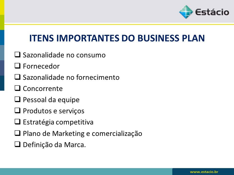 ITENS IMPORTANTES DO BUSINESS PLAN