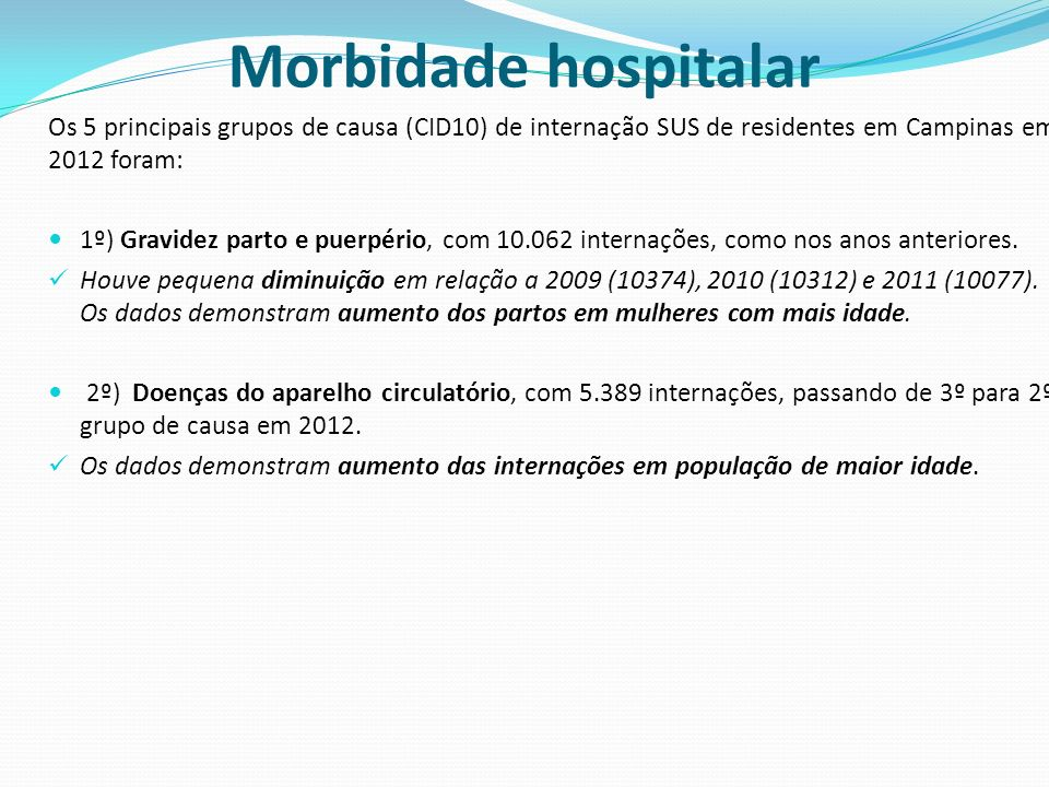 Morbidade hospitalar Os 5 principais grupos de causa (CID10) de internação SUS de residentes em Campinas em 2012 foram: