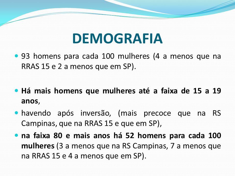 DEMOGRAFIA 93 homens para cada 100 mulheres (4 a menos que na RRAS 15 e 2 a menos que em SP).