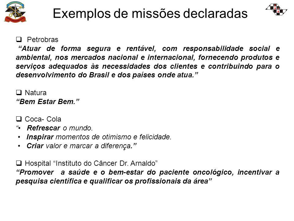 Exemplos de missões declaradas