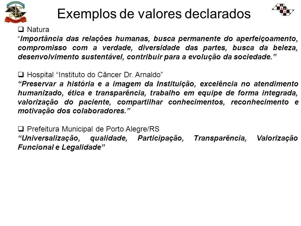 Exemplos de valores declarados