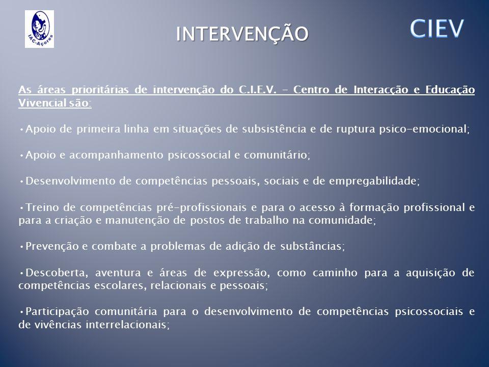 CIEV INTERVENÇÃO. As áreas prioritárias de intervenção do C.I.E.V. – Centro de Interacção e Educação Vivencial são: