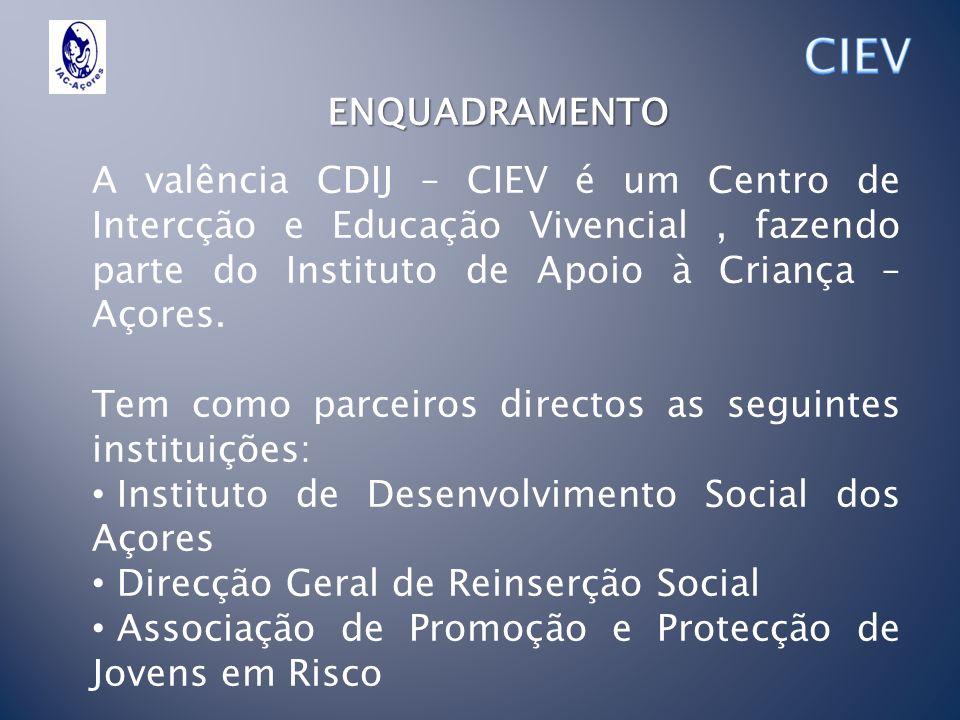 CIEV ENQUADRAMENTO. A valência CDIJ – CIEV é um Centro de Intercção e Educação Vivencial , fazendo parte do Instituto de Apoio à Criança – Açores.