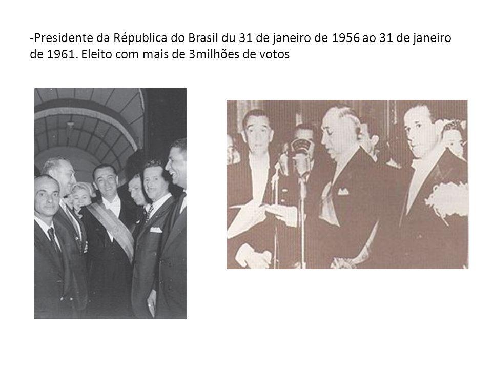 -Presidente da Républica do Brasil du 31 de janeiro de 1956 ao 31 de janeiro de 1961.