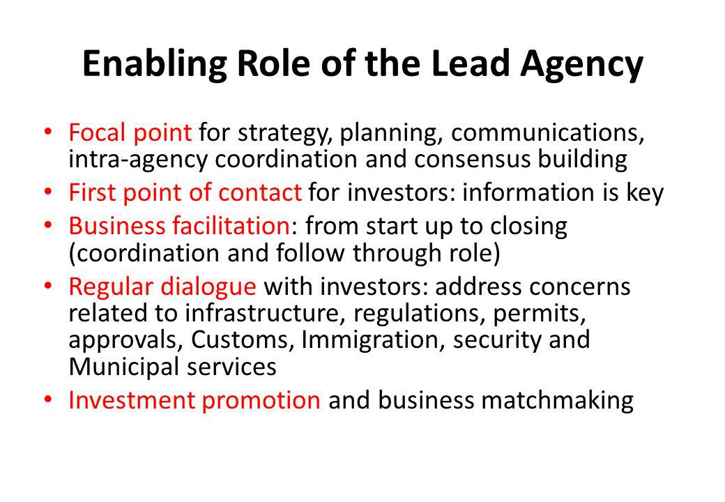 Enabling Role of the Lead Agency