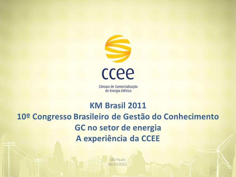KM Brasil 2011 10º Congresso Brasileiro de Gestão do Conhecimento GC no setor de energia A experiência da CCEE