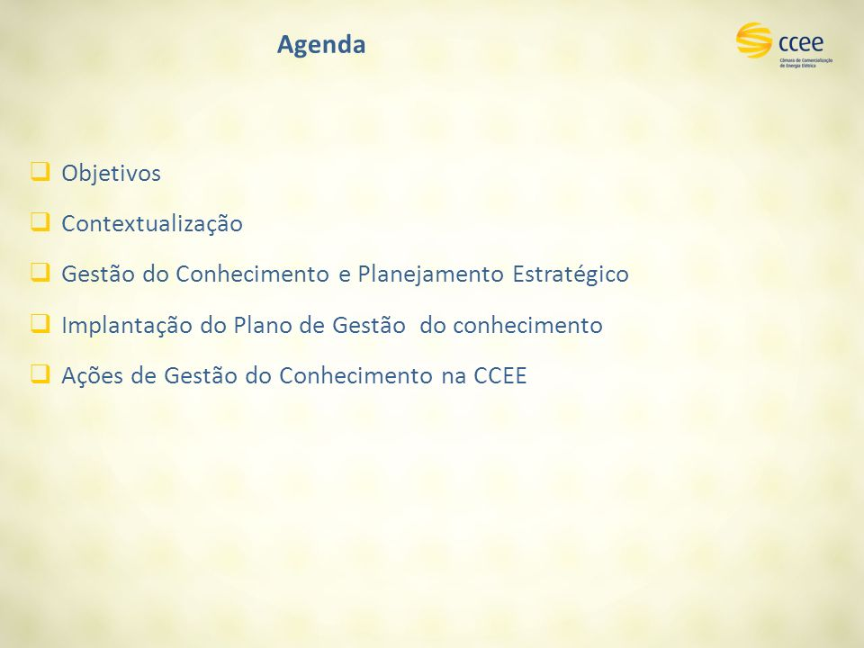 Agenda Objetivos Contextualização