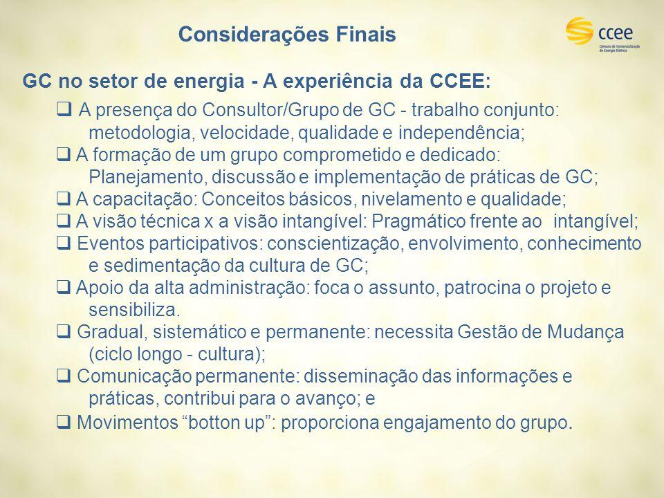 Considerações Finais GC no setor de energia - A experiência da CCEE: