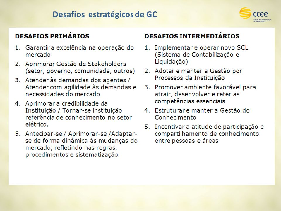 Desafios estratégicos de GC