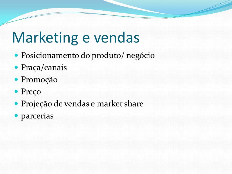 Marketing e vendas Posicionamento do produto/ negócio Praça/canais