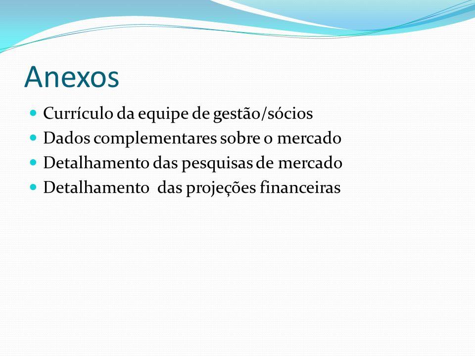 Anexos Currículo da equipe de gestão/sócios