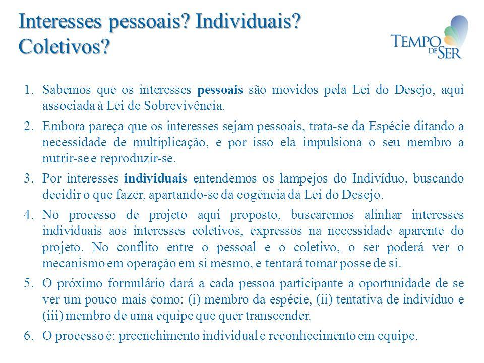 Interesses pessoais Individuais Coletivos